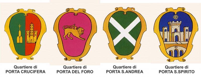 stemmi dei quartieri2 800x307 Giostra Del Saracino   Città di Arezzo (DL026)