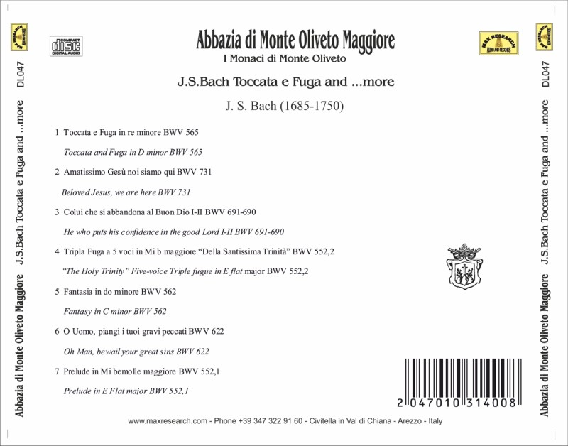 02 DL047 inlay posteriore stampa laser jpg web 800x628 Monastero Monte Oliveto Maggiore   J.S.Bach Toccata e Fuga and ...more (DL047)
